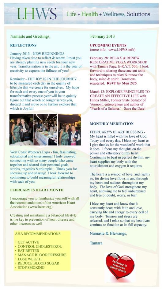 LHWS February 2013 newsletter